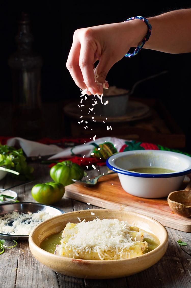 Receta tradicional mexicana de enchiladas suizas