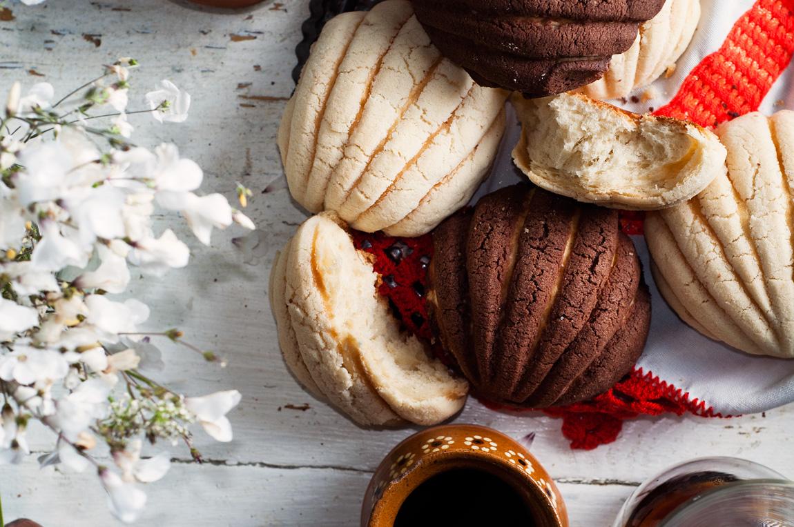 Conchas mexicanas caseras de chocolate y vainilla