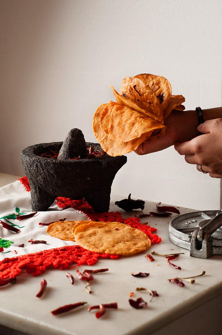 Tortillas mexicanas rojas