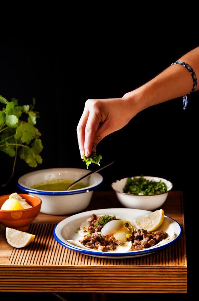 Tacos caseros de carne asada