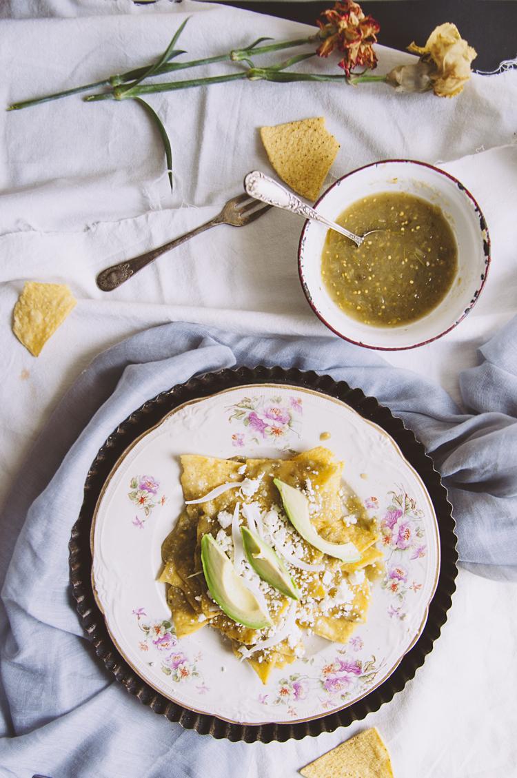 Desayuno de chilaquiles verdes